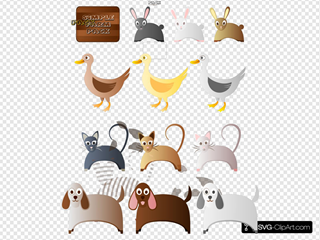 Farm Animals Cat Dog Rabbit Bunny Duck SVG Clipart