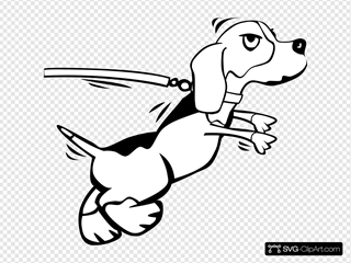 Dog On Leash Cartoon 2 SVG Clipart