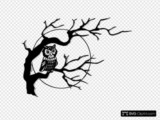 Owl On Tree Branch SVG Clipart