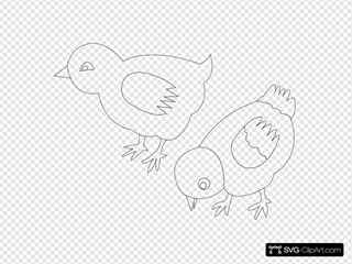 Chickens Vector Coloring