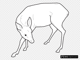 Deer Outline Looking Back SVG Clipart