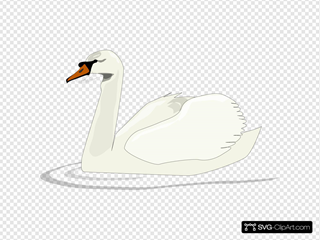 Swan Swimming SVG Cliparts