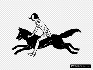 Boy Riding A Wolf Clipart