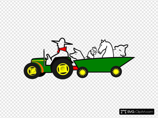 Green Tractor With Animals