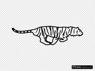 Tiger Running Outline
