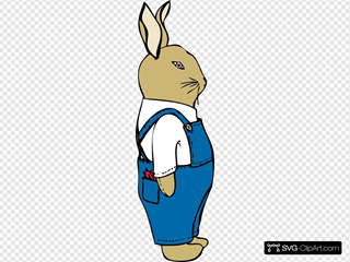 Bunny In Overalls SVG Clipart