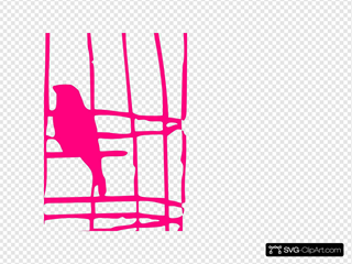 Hot Pink Bird Cage With Birds
