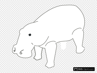 Hippo Outline Animal