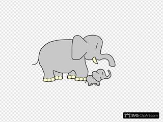 Parent And Child Elephants
