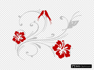 Butterfly Scroll With Birds And Hibiscus