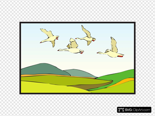 Geese Flying Over Landscape