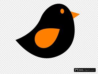 Orange & Black Birdie