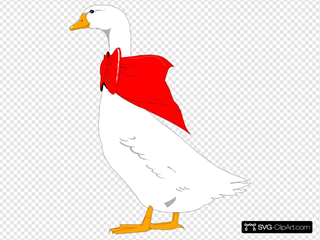 Goose With Red Bow On Neck