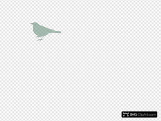 Left Bird Silhouette Light Aquamarine