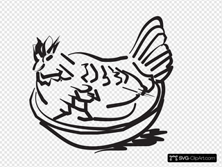 Chicken In A Bowl SVG Clipart