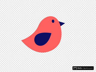 Coral And Navy Bird