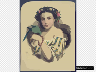 Woman With Dove Wearing Flowers