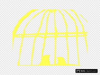 Yellow Love Birds In Birdcage