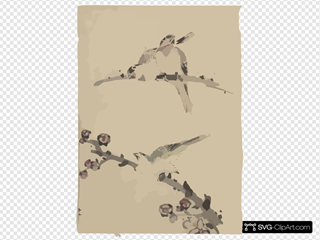 [three Birds Perched On Branches, One With Blossoms] SVG Clipart