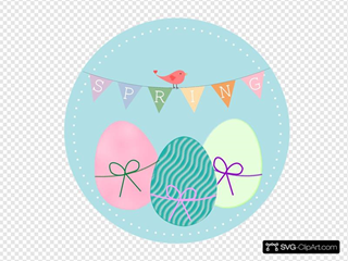 Spring With Easter Eggs And Bird