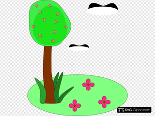 Tree Birds Flowers Cartoon