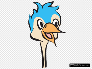 Blue Ostrich Head