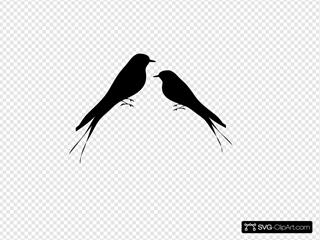 Love Birds Facing Each Other Black