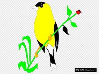 Goldfinch On A Flower Stem