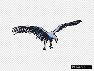 Silver And Blue Flying Bird