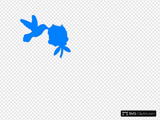 Blue Hummingbird And Bush