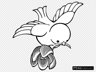 Bird Flying With Flower