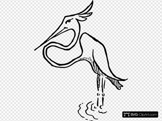 Stork In Water Drawing