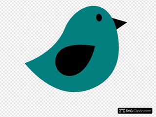 Black & Dark Teal Birdie SVG Clipart