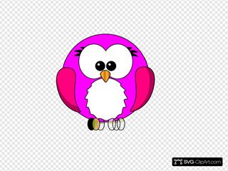 Pink Bird Cartoon Round