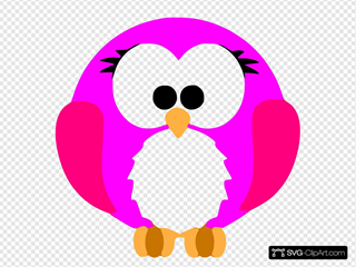 Pink Robin Cartoon SVG Clipart