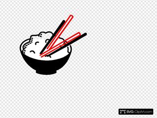 Superimp Black Red White Rice Bowl