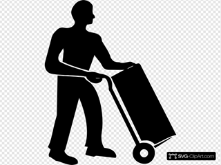 Worker Moving Trolley