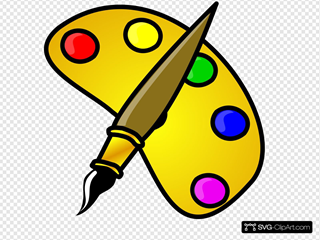 Painter Color Palette With Brush Cartoon