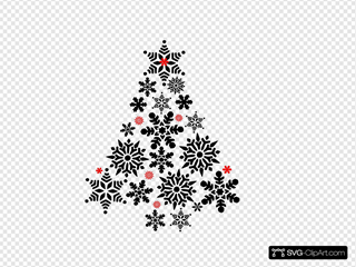 Snowflake Tree Black And Red