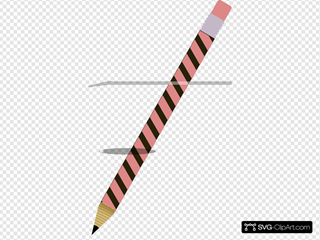 Coral And Black Striped Pencil