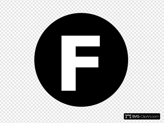 White Letter  F  Centered Inside Black Circle