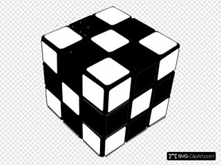 Rubik Cube Black & White 2