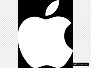 White Apple Logo On Black Background