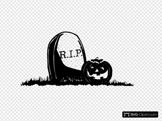 Gravestone With Pumpkin