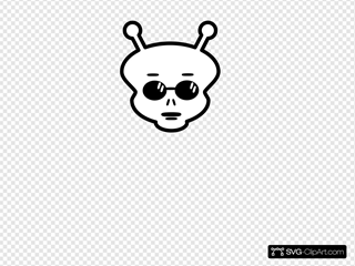 Black And White Alien Clipart