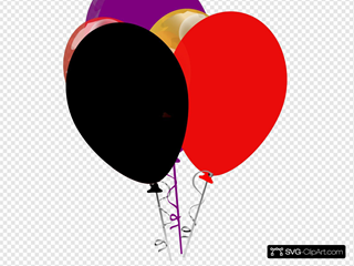 Purple Black And Red Balloons