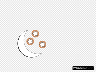 Moon And Stars Outline