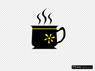 Black Cup With Yellow Flower