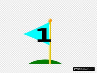 Golf Flag 1st Hole (bolder Black Number)