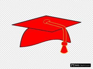 Graduation Cap - Red Fill - Black Background